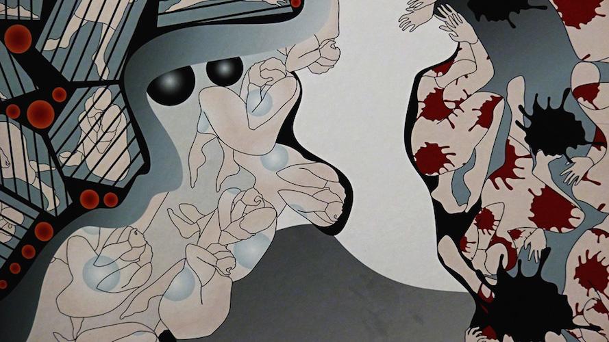 """Die Gleichzeitigkeit des Schönen und des Schrecklichen, die Ambivalenz des Lebens findet in den Schmetterlingen zu einem Ausdruck, zu einem Bild. Das Ornament aus menschlichen Körpern, das sie in sich tragen führt diese Ambivalenz unmittelbar vor Augen. Ins Persische übersetzt heißt Schmetterling """"Parwaneh"""" – dies ist der Name der Mutter Parastou Forouhars. Er wird zum tragenden Element dieser Arbeit. (Die Texte wurden aus der Eröffnungsrede von Dr. Melanie Ardijah, Kuratorin der Ausstellung, entnommen)."""