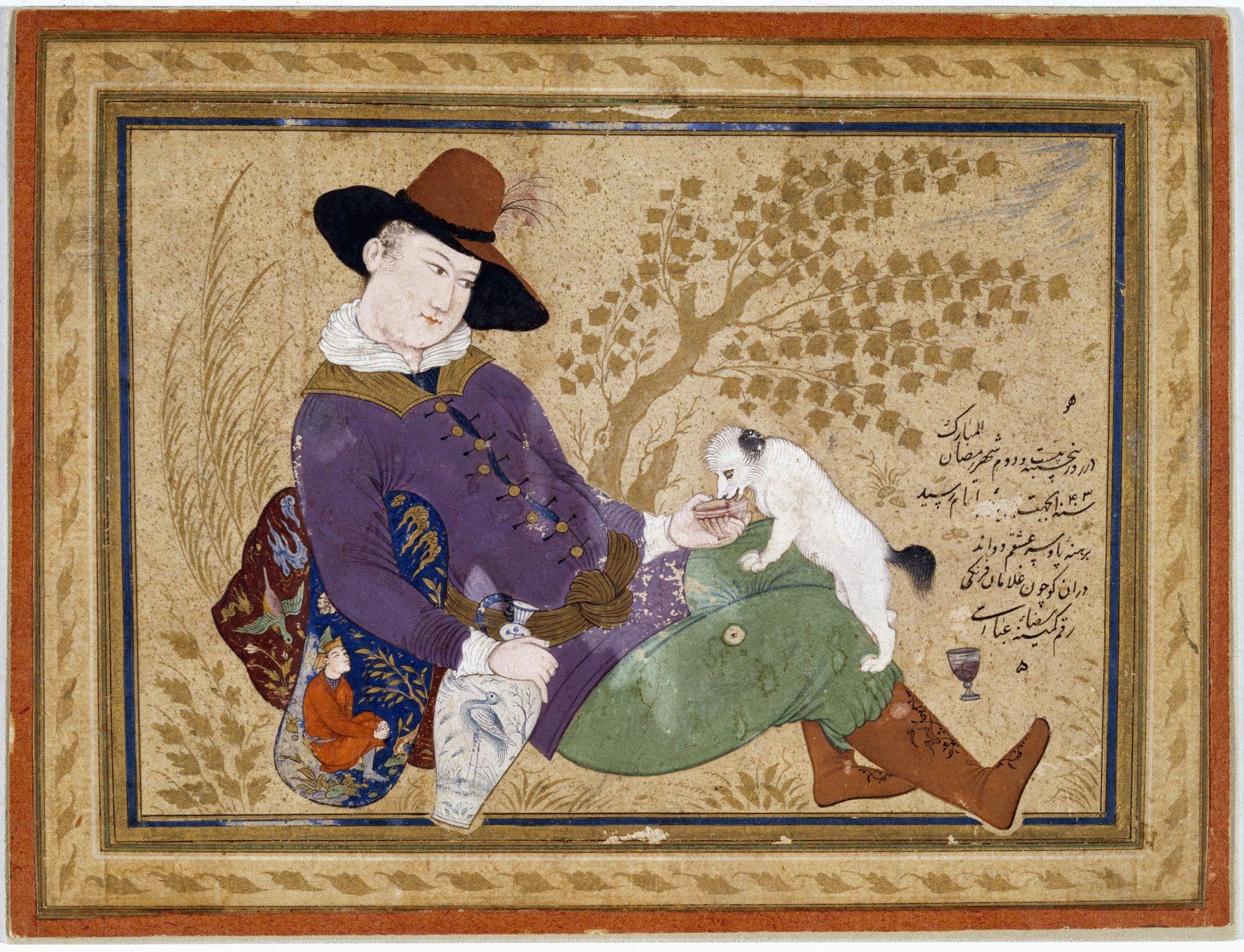 """""""Der portugiesische Tourist"""", von Reza Abbasi, einem der bekanntesten iranischen Miniaturmaler, 1634"""