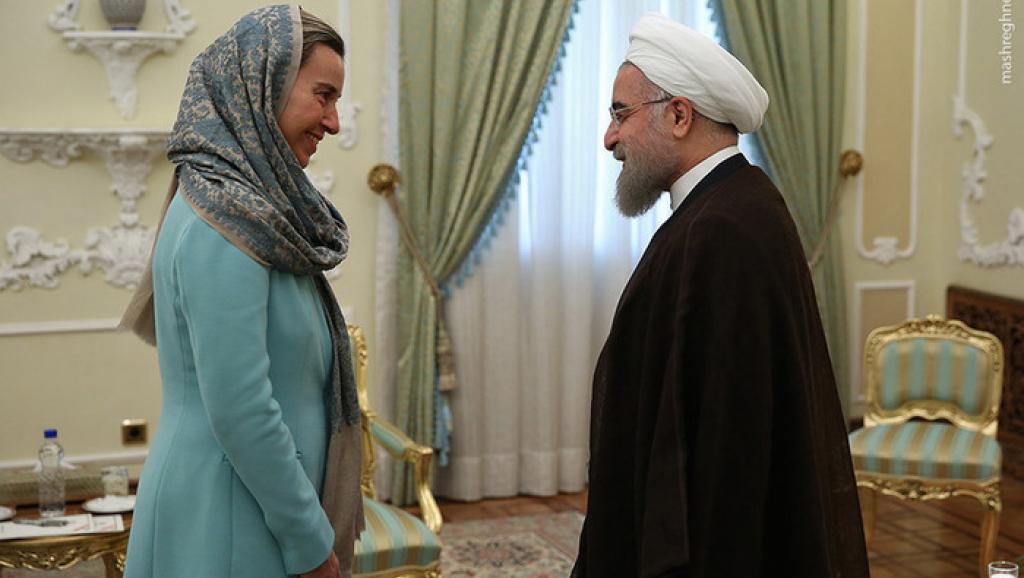 Federica Mogherini, Hohe Vertreterin der EU für Außen- und Sicherheitspolitik, zu Besuch beim Irans Präsident Hassan Rouhani
