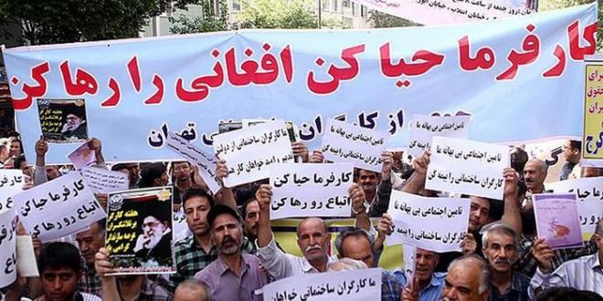 Ein Teil der iranischen Bevölkerung ist gegen die Beschäftigung der Flüchtlinge - Foto: Demonstration gegen Beschäftigung der afghanischen Flüchtlinge und Migranten in Teheran