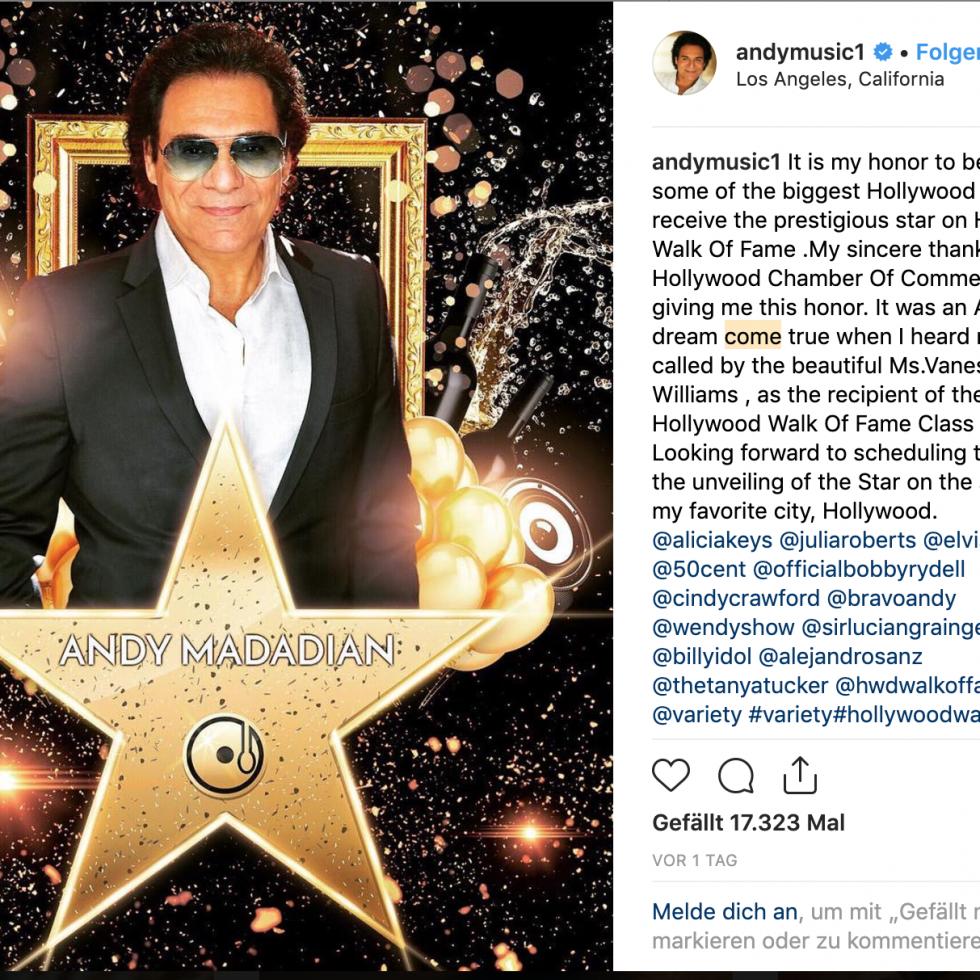 """IRANER WIRD MIT EINEM HOLLYWOOD-STERN GEEHRTDer Pop-Sänger Andy Madadian ist der erste iranischstämmige Künstler, der einen Stern auf Hollywoods Walk Of Fame bekommt. Andy lebt in den USA und singt hauptsächlich auf Persisch. Er wird seit 40 Jahren innerhalb und außerhalb des Iran gefeiert. Der Stern wird berühmten Entertainern in der Film-, Fernseh-, Musik- und Radiobranche vergeben. Wie Prominente dafür ausgewählt werden, ist nicht klar. Langlebigkeit in der Unterhaltungsbranche und soziales Engagement gehören zu den Voraussetzungen für eine Ehrung. Auch der US-Präsident Donald Trump wurde 2007 mit einem Stern geehrt - für seine Leistungen als Produzent der Fernsehserie """"The Apprentice""""."""