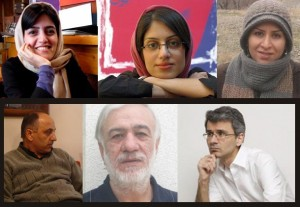 Verhaftete Journalisten - oben: (v. rechts) Fatemeh Kheradmand, Parastou Dokouhaki, Marzieh Rasouli / unten: (v. rechts) M. Soleymani Nia, Hassan Fathi, Ehsan Houshmand.