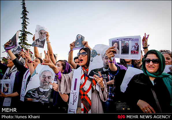 Anhängerinnen des moderaten Kandidaten Hassan Rouhani.
