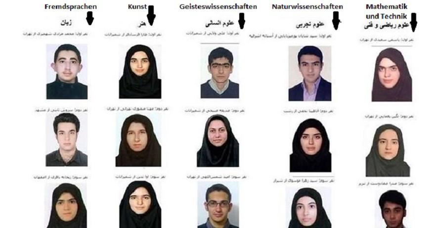 Um ein Studium im Iran aufnehmen zu können, müssen Abiturientinnen und Abiturienten an einer landesweiten Aufnahmeprüfung – Konkur -, teilnehmen. Dieses Jahr hatten sich 1.083.571 Personen für die Prüfung angemeldet, davon 60 Prozentn weiblich. Die meisten BewerberInnen hatten sich für die Fächer Mathematik, Naturwissenschaften, Kunst und Fremdsprachen interessiert. Das fünfte Fach der Konkur, Geisteswissenschaften, lag am Ende der Interessenskala der jungen IranerInnen. Nach Angaben der Organisation für die Evaluation des Bildungswesens (OEB) haben mehr als 695.000 BerwerberInnen die Prüfung bestanden. Dabei sollen Frauen besser abgeschnitten haben als Männer. Laut OEB sind neun der 15 BewerberInnen mit den besten Noten in allen fünf Fächern Abiturientinnen (s. Foto).