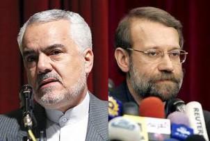 Vizepräsident Mohammad Reza Rahimi (li) und Parlamentspräsident Ali Larijani: Die Echtheit ihrer Doktortitel wird auch angezweifelt.