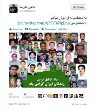 Screen shot von Shahin Alirezas Twitter-Seite