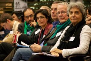 Von rechts: Mehrangiz Kar, Tom Koenigs, Markus Lönning, Isabel Schayani, und Omid Nouripour
