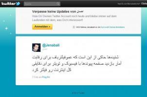 """Twitter-Nutzer Jenabali: """"Amoo Filterbaf das gesamte Internet für ein paar Minuten blockiert hat, nur um die Besucherzahlen auf 'Peyvandha' zu erhöhen, damit die endlich mit Facebook und Twitter mithalten können."""""""