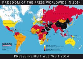 Weltkarte der Pressefreiheit in 2014 von reporter-ohne-grenzen.de