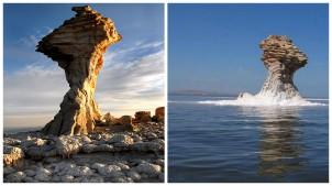Urmiasee, links ein Bild vom 2013, bei dem der See bis zum 85 Prozent ausgetrocknet ist. Und rechts ein Bild vom 1998