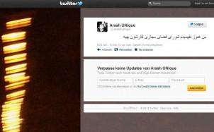 Screen shot - Arash UNique auf Twitter