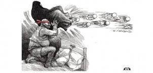 """""""Wunschvorstellung der Ultrakonservativen"""" im Iran - eine Karikatur von Toka Neyestani, die von den Regierenden und VerteidigerInnen der Frauenrechte kritisiert wird"""