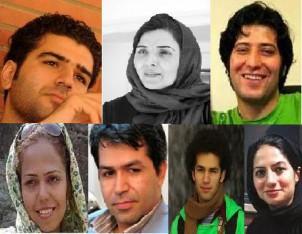 Verhaftete JournalistInnen - oben v. li.: Soleyman Mohammadi, Narges Joudaki, Sasan Aghai - unten v. li.: Saba Azarpeyk, Akbar Montakhabi, Milad Fadai, Emili Amrai