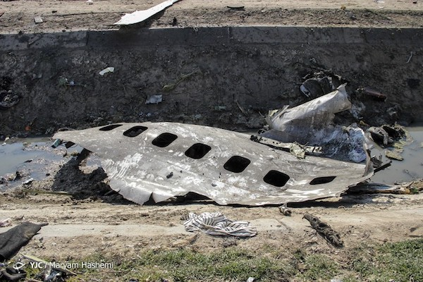 Überreste der Ukrainischen Passagiermaschine  in Teheran - Symbolbild eines Verbrechens seitens der iranischen Revolutionsgarden