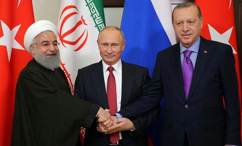 Demonstration einer innigen Freundschaft oder eines Schulterschlusses gegen die USA? (von links) Hassan Rouhani, Wladimir Putin und Recep Tayyib Erdogan - Foto: irna.ir